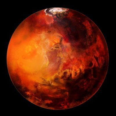 Marsovská ledová čepička je vidět i na snímcích Marsu. Toto je však věrná simulace. (Zdroj Shutterstock)