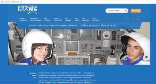 Webstránka Expedice Mars