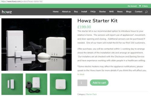 Základní sada systému HOWZ  (zdroj: webstránka https://www.howz.com)