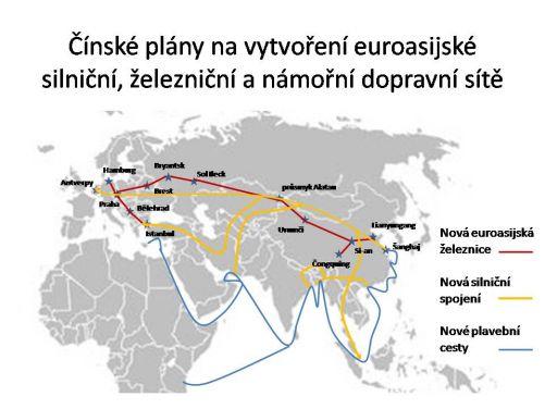 Čínské plány na vytvoření euroasijské silniční, železniční a námořní dopravní sítě (kresba MD)
