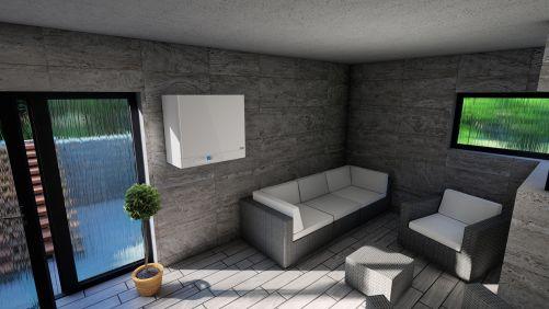Kotel s integrovaným zásobníkem neruší ani v interiéru (foto Thermona)
