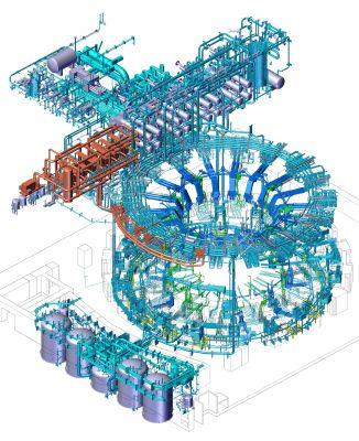 Návrh chladicího systému provedla Americká Domácí agentura. Malý tým plus externí inženýrská podpora byl nejúčinnějším a nákladově nejefektivnějším způsobem, jak najít konečný návrh chladicího systému. (Credit © ITER Organization, http://www.iter.org/)