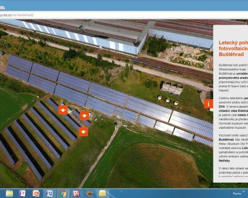 Úvodní stránka virtuální procházky solární elektrárnou v Buštěhradě (zdroj ČEZ)