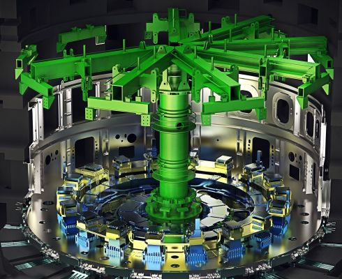 Sloupový 600 tunový nástroj pro montáž v jámě bude držet podsestavy vakuové nádoby tak, jak budou postupně přiváženy a svařovány (Credit © ITER Organization, http://www.iter.org/)