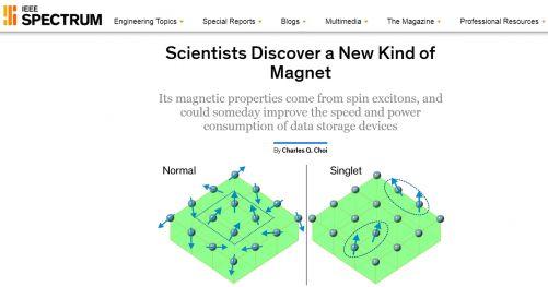 V singletových magnetech vzniká magnetické pole nikoli náhlým uspořádáním velké skupiny chaotických magnetických polí, ale souhrou menších skupin elektronů a jejich magnetických polí. (webstránka IEEE Spectrum)