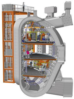 Čtyři podlaží hliníkového lešení uvnitř vakuové nádoby poskytnou podlahovou plochu zhruba 550 m2 (Credit © ITER Organization, http://www.iter.org/)