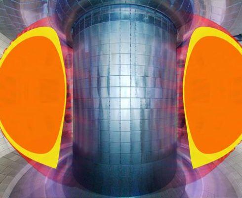 Plazma ve tvaru písmene D v experimentech s režimem Super H na tokamaku DIII-D je schopno dosáhnout teploty iontů více než 30 milionů stupňů v oblasti podstavce (žluté oblasti příčných řezů), což umožňuje plazmě jádra (oranžové oblasti), dosáhnout optimál