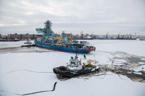 Arktika vyplouvá na svou první pracovní plavbu (foto Rosatomflot)