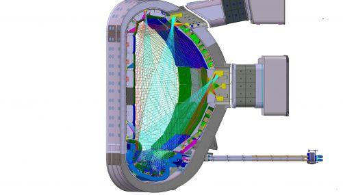 Síť zorných paprsků bolometrů v tokamaku ITER. Žluté jsou kamery na portech. Kamery a zorné paprsky jsou rozmístěny po celé vakuové komoře ITER, pro toto schéma byly všechny promítnuty do jedné poloidální roviny. (Credit © ITER Organization, http://www.it