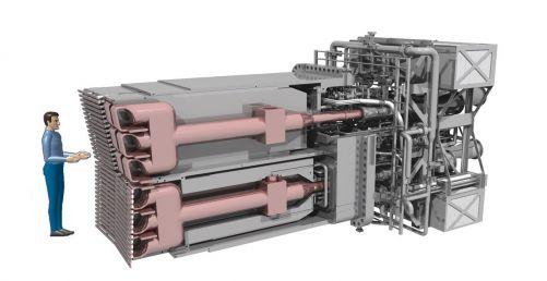Systém iontového cyklotronového rezonančního ohřevu (ICRH) bude pomocí dvou 50 tunových antén dodávat do plazmatu 20 MW ohřevového výkonu (Credit © ITER Organization, http://www.iter.org/)