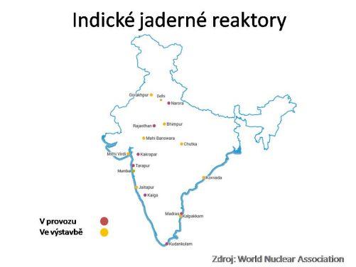 Umístění indických jaderných elektráren (zdroj WNA)