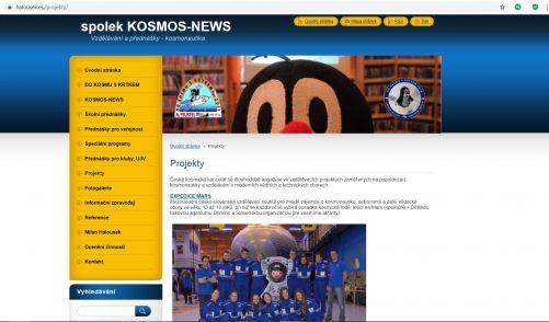 Webstránka KOSMOS NEWS
