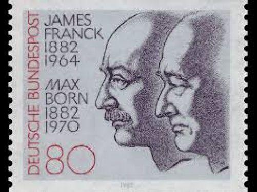 Max Born, James Franck- dva celoživotní přátelé na něm. poštovní známce (archiv autora)