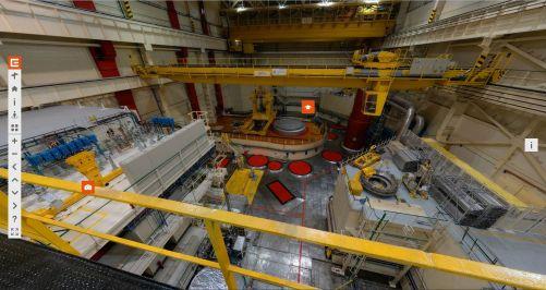 On-line prohlídka jaderné elektrárny Dukovany - reaktorový sál (zdroj: vzdělávací portál ČEZ www.svetenergie.cz)