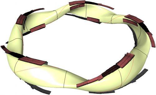 Wendelstein 7-X: V deseti zakřivených dvojitých páscích sleduje tvar divertorové desky zkroucené plazma. (Kresba IPP)