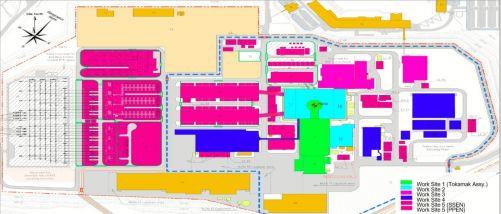 Na zelenou zónu se vztahují smlouvy na montáž tokamaku, včetně tokamakové jámy, montážní haly a čisticího zařízení. Modrá zóna patří Trojbudoví a Budově vysokých frekvencí. Na oblast červenou, růžovou a fialovou se vztahují smlouvy na pomocná a podpůrná z