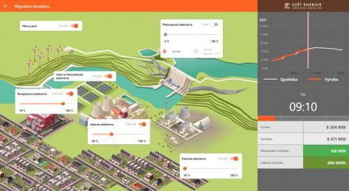 Ve hře Enermix musejí hráči vyrobit dostatek energie pro virtuální město (zdroj ČEZ, Svět energie)