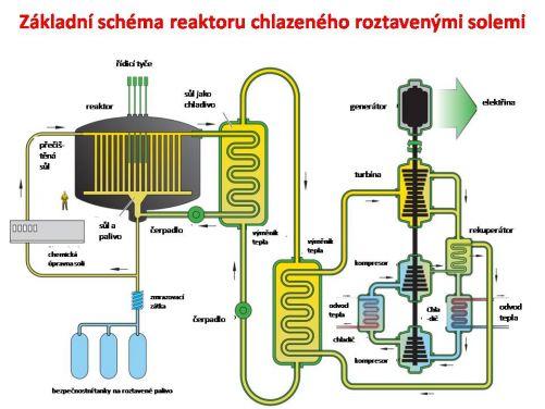 Principiální schéma reaktoru s kapalným palivem chlazeného roztavenými solemi (zdroj Gen IV)