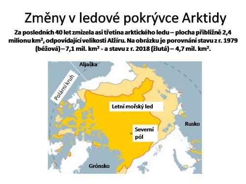 Za posledních 40 let zmizela v létě asi třetina mořského ledu v Arktidě. Je to oblast o ploše přibližně 2,4 milionů km2, což je velikost např. Alžírska.