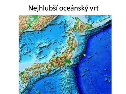 Hvězdička ukazuje místo aktuálně nejhlubšího podmořského vrtu.