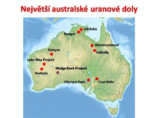 Mapa Austrálie s hlavními uranovými doly. Nejvíce uranu dnes těží Kazachstán, Austrálie a Kanada jsou hned za ním.