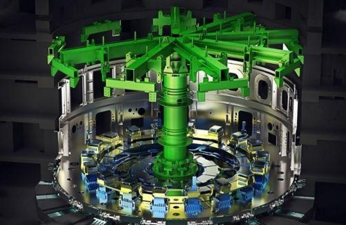 600tunový nástroj pro montáž bude v tokamakové jámě fixovat hmotnost podsestav sektorů vakuových nádob při jejich postupném sestavování a svařování. (Kredit: ITER Organization, http://www.iter.org/)