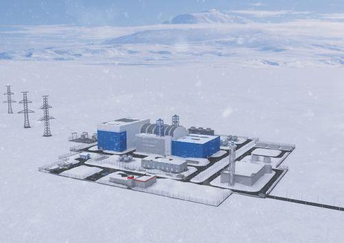 Vizualizace malé jaderné elektrárny s reaktorem RITM-200 v Jakutsku (zdroj Rosatom)