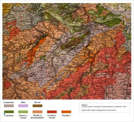 Mapa barrandienu vytvořená Bedřichem Katzerem 1891 (zdroj Wikimedia Commons PD)