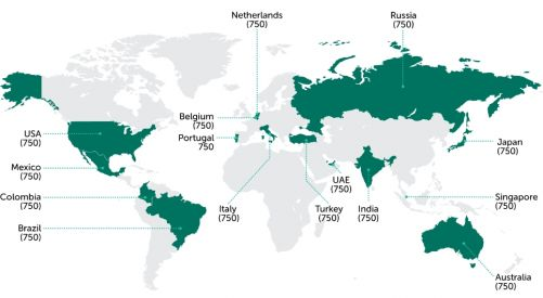Země, ve kterých proběhl průzkum preferencí při užívání připojení k internetu (zdroj Kaspersky Lab)