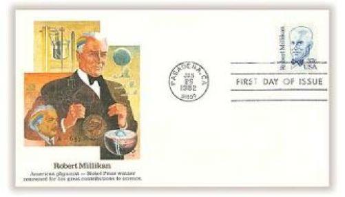 Obálka prvního dne k vydané poštovní známce s R. A. Millikanem (zdroj autor)