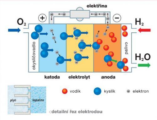 Princip palivového článku (Zdroj: vzdělávací program Svět energie, ilustrace Simopt)